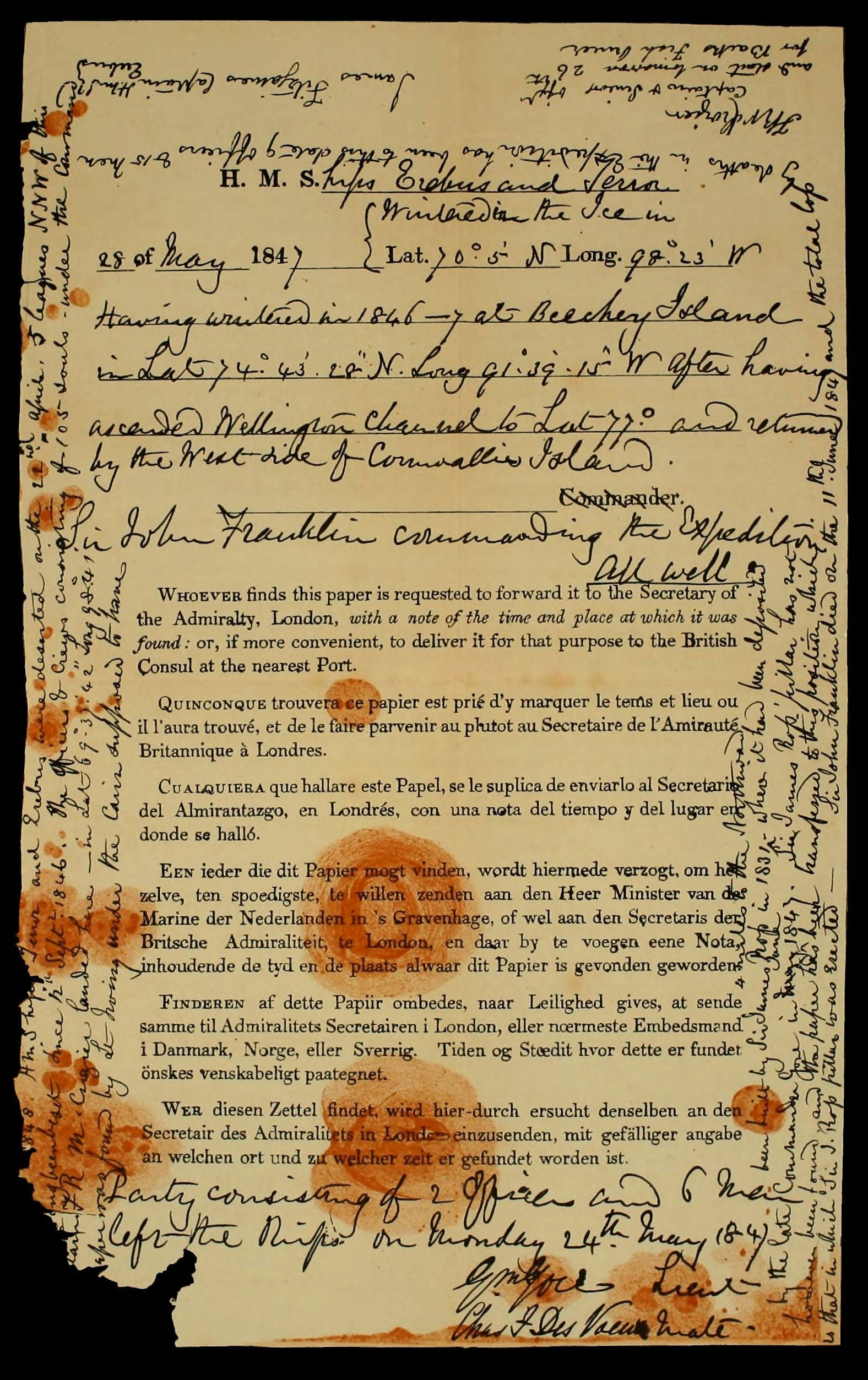 The last report of the Franklin Expedition, found in a lifeboat along with the bodies of some of Franklin's men.