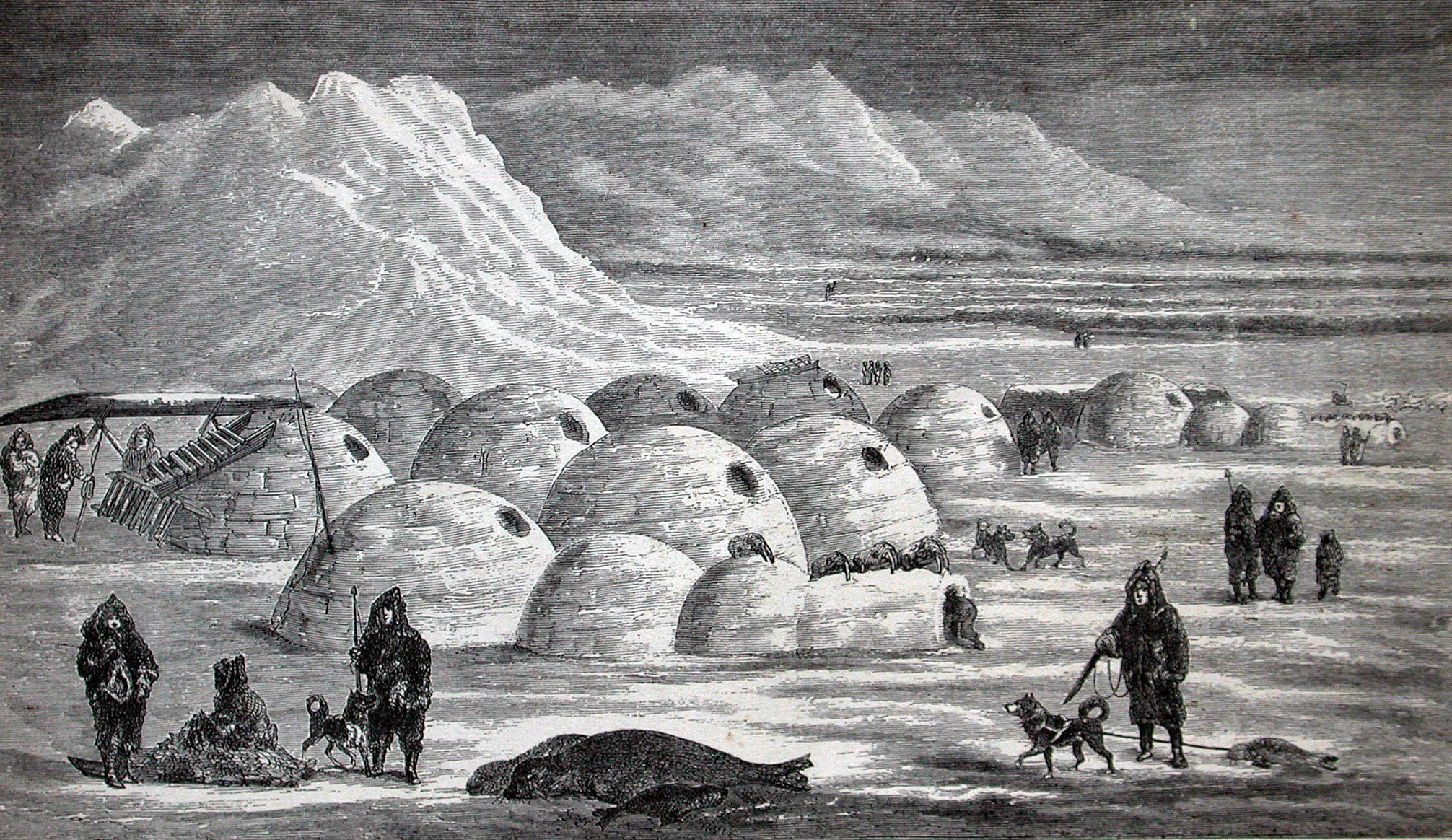 Igloos of an Inuit winter camp.