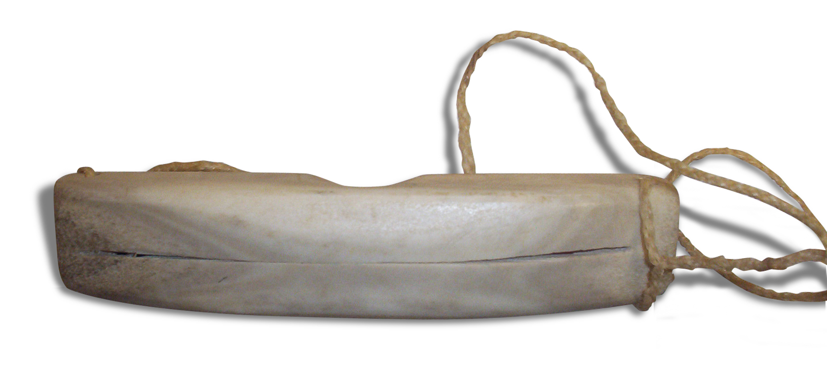 Traditional Inuit goggles. The narrow field of vision reduces glare to prevent snow blindness.